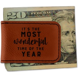 Christmas Quotes and Sayings Leatherette Magnetic Money Clip (Personalized)