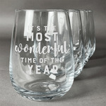 Christmas Quotes and Sayings Stemless Wine Glasses (Set of 4) (Personalized)