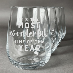Christmas Quotes and Sayings Wine Glasses (Stemless- Set of 4) (Personalized)