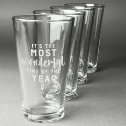 Christmas Quotes and Sayings Beer Glasses (Set of 4) (Personalized)