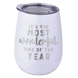 Christmas Quotes and Sayings Stemless Wine Tumbler - 5 Color Choices - Stainless Steel  (Personalized)