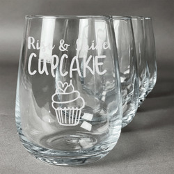 Cute Quotes and Sayings Wine Glasses (Stemless- Set of 4) (Personalized)