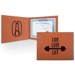 Exercise Quotes and Sayings Leatherette Certificate Holder (Personalized)