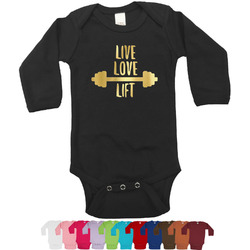 Exercise Quotes and Sayings Foil Bodysuit - Long Sleeves - 6-12 months - Gold, Silver or Rose Gold (Personalized)