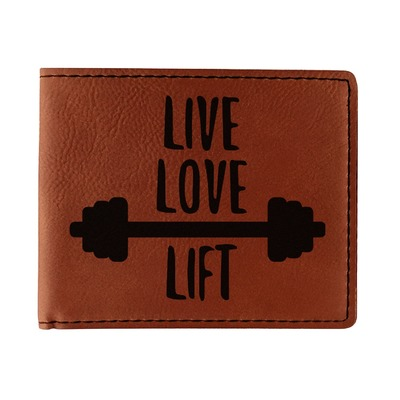 Exercise Quotes and Sayings Leatherette Bifold Wallet (Personalized)