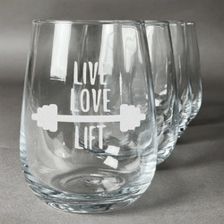 Exercise Quotes and Sayings Wine Glasses (Stemless- Set of 4) (Personalized)