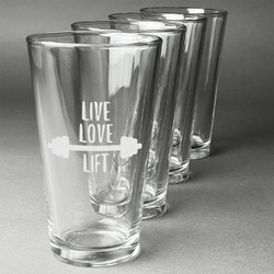 Exercise Quotes and Sayings Beer Glasses (Set of 4) (Personalized)