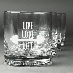 Exercise Quotes and Sayings Whiskey Glasses (Set of 4) (Personalized)