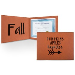 Fall Quotes and Sayings Leatherette Certificate Holder (Personalized)