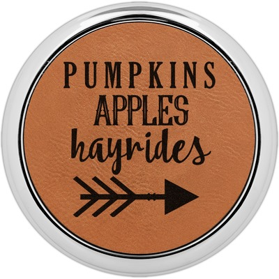 Fall Quotes and Sayings Leatherette Round Coaster w/ Silver Edge - Single or Set (Personalized)