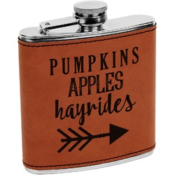 Fall Quotes and Sayings Leatherette Wrapped Stainless Steel Flask (Personalized)