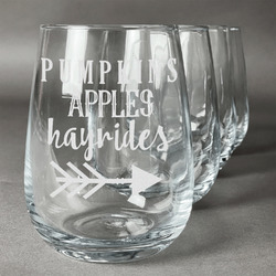Fall Quotes and Sayings Wine Glasses (Stemless- Set of 4) (Personalized)