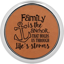 Family Quotes and Sayings Leatherette Round Coaster w/ Silver Edge - Single or Set (Personalized)