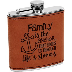 Family Quotes and Sayings Leatherette Wrapped Stainless Steel Flask (Personalized)
