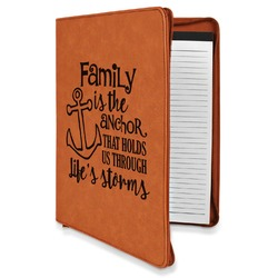 Family Quotes and Sayings Leatherette Zipper Portfolio with Notepad (Personalized)