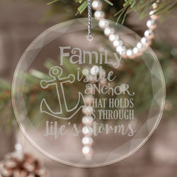 Family Quotes and Sayings Engraved Glass Ornament