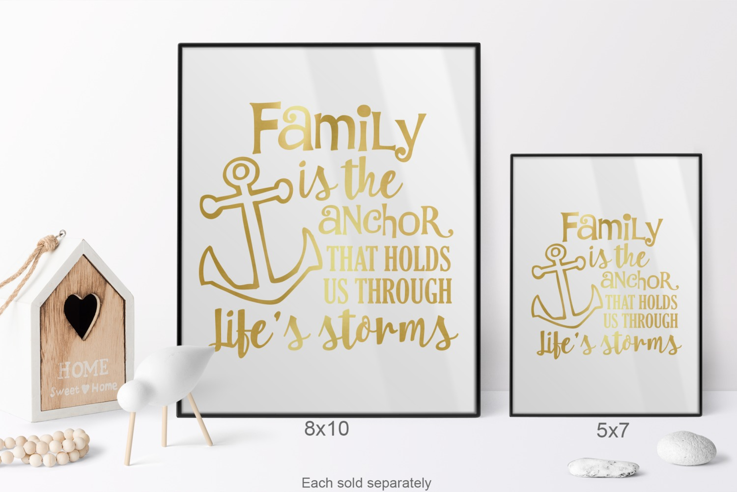 Family Quotes And Sayings 5x7 White Foil Print