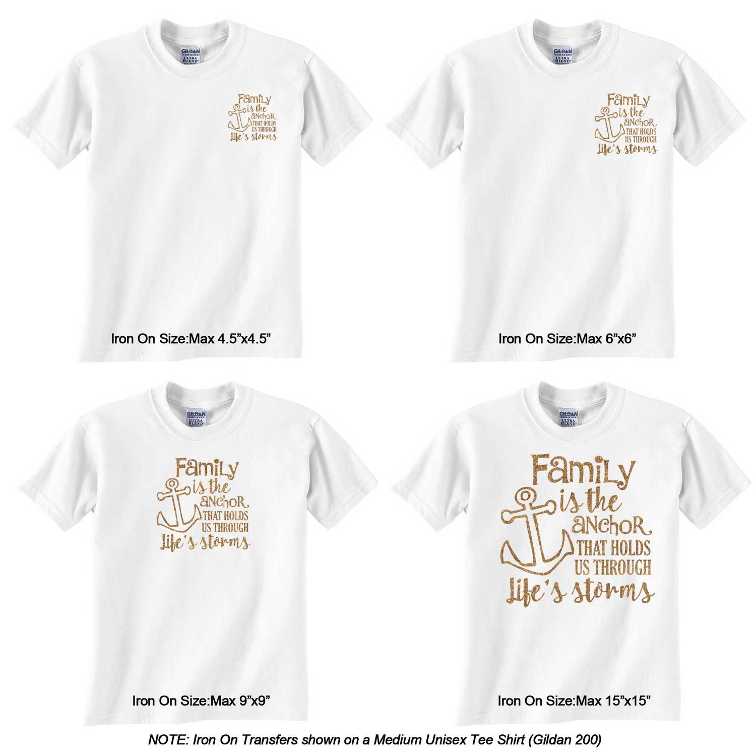 bca8f7ce Family Quotes and Sayings Glitter Heat Transfer Sizes on Tee Shirt .