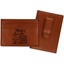 Family Quotes and Sayings Leatherette Wallet with Money Clip (Personalized)