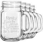 Family Quotes and Sayings Mason Jar Mugs (Set of 4) (Personalized)