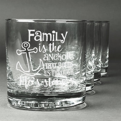 Family Quotes and Sayings Whiskey Glasses (Set of 4) (Personalized)