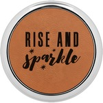 Glitter / Sparkle Quotes and Sayings Leatherette Round Coaster w/ Silver Edge - Single or Set (Personalized)