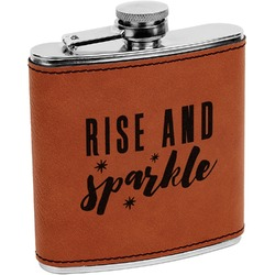 Glitter / Sparkle Quotes and Sayings Leatherette Wrapped Stainless Steel Flask (Personalized)