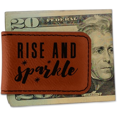Glitter / Sparkle Quotes and Sayings Leatherette Magnetic Money Clip (Personalized)
