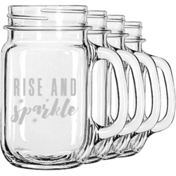 Glitter / Sparkle Quotes and Sayings Mason Jar Mugs (Set of 4) (Personalized)