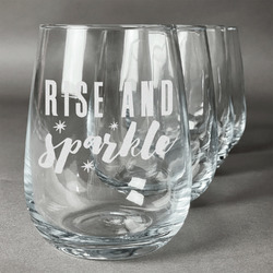 Glitter / Sparkle Quotes and Sayings Wine Glasses (Stemless- Set of 4) (Personalized)