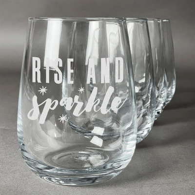 Glitter / Sparkle Quotes and Sayings Stemless Wine Glasses (Set of 4) (Personalized)