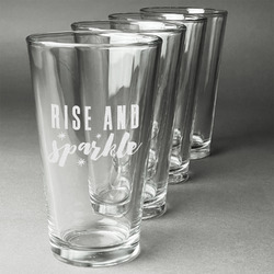 Glitter / Sparkle Quotes and Sayings Beer Glasses (Set of 4) (Personalized)