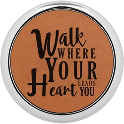 Heart Quotes and Sayings Leatherette Round Coaster w/ Silver Edge - Single or Set (Personalized)