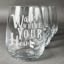 Heart Quotes and Sayings Wine Glasses (Stemless- Set of 4) (Personalized)