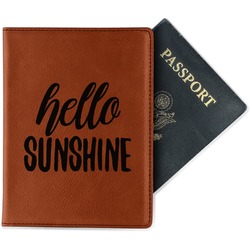 Hello Quotes and Sayings Leatherette Passport Holder (Personalized)
