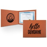 Hello Quotes and Sayings Leatherette Certificate Holder (Personalized)