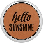Hello Quotes and Sayings Leatherette Round Coaster w/ Silver Edge - Single or Set (Personalized)