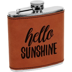 Hello Quotes and Sayings Leatherette Wrapped Stainless Steel Flask (Personalized)
