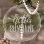 Hello Quotes and Sayings Engraved Glass Ornament