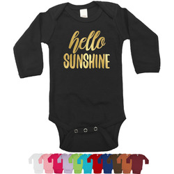 Hello Quotes and Sayings Foil Bodysuit - Long Sleeves - Gold, Silver or Rose Gold (Personalized)