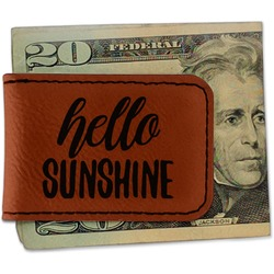 Hello Quotes and Sayings Leatherette Magnetic Money Clip (Personalized)