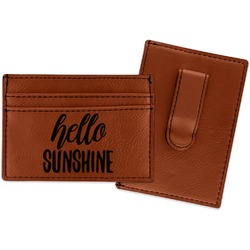 Hello Quotes and Sayings Leatherette Wallet with Money Clip (Personalized)