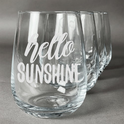 Hello Quotes and Sayings Wine Glasses (Stemless- Set of 4) (Personalized)