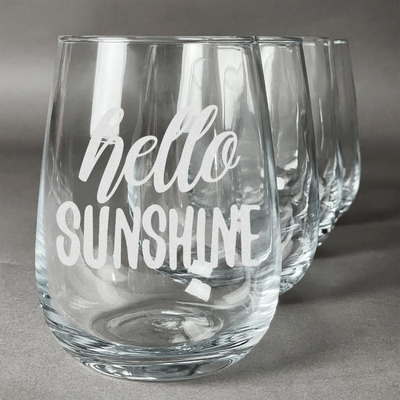 Hello Quotes and Sayings Stemless Wine Glasses (Set of 4) (Personalized)