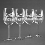 Hello Quotes and Sayings Wine Glasses (Set of 4) (Personalized)