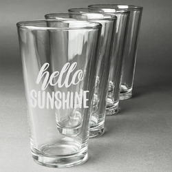 Hello Quotes and Sayings Beer Glasses (Set of 4) (Personalized)