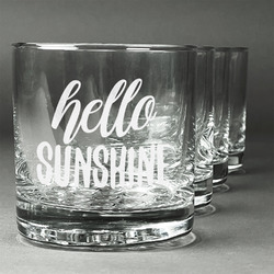 Hello Quotes and Sayings Whiskey Glasses (Set of 4) (Personalized)