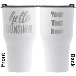 Hello Quotes and Sayings RTIC Tumbler - White - Engraved Front & Back (Personalized)