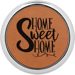 Home Quotes and Sayings Leatherette Round Coaster w/ Silver Edge - Single or Set (Personalized)