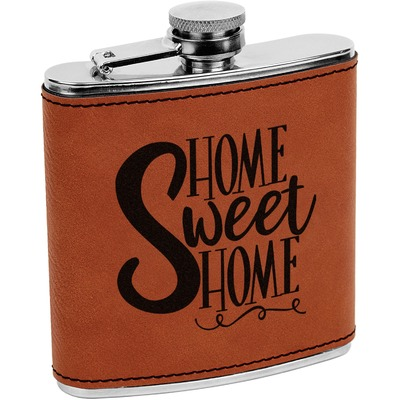 Home Quotes and Sayings Leatherette Wrapped Stainless Steel Flask (Personalized)